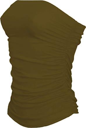 Janisramone Womens New Boobtube Bandeau Strapless Top Ladies Both Side Ruched Crop Bra Vest Top Khaki