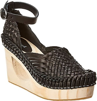 Free People Teagan Leather Wedge, 39, Black, Black, Size 10.0 US / 8 UK US