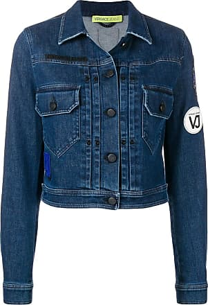 f31ddf2c09a8 Versace Jeans Couture logo patch cropped jacket - Blue