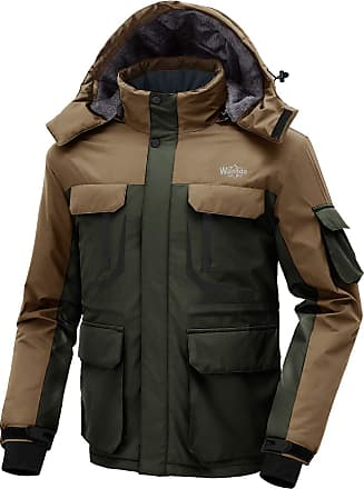Wantdo Mens Warm Ski Jacket Hooded Mountain Waterproof Winter Coat Windproof Raincoat Outdoors Parka Army Green Coffee XL