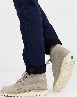 Kickers mens kick hi leather boot in grey