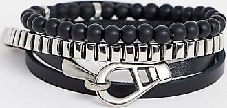 Icon Brand Set di bracciali neri-Argento