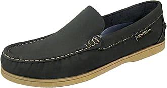 Footwear Studio Mens Leather YACHTSMAN Smart Boat Loafers Formal Moccasin Sailing Deck Shoes, Navy Blue, 9 UK
