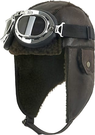 Ililily Aviator Hat Winter Snowboard Fur Ear Flaps Trooper Trapper Pilot Goggles, Dark Brown
