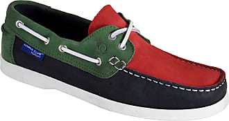 Quayside Ladies Alderney Soft Leather Boat Deck Shoes Navy/Red/Green UK 7