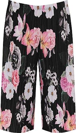 Islander Fashions Islander Womens Plus Pleated Elasticated Floral Print Culottes Stretch Shorts (Medium-Large, Black)