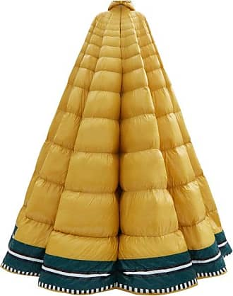 Moncler Erminia Hooded Striped Down-filled Gown - Womens - Yellow Multi
