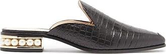 Nicholas Kirkwood Casati Pearl-heel Croc-effect Leather Loafers - Womens - Black