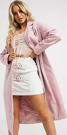 In The Style heritage belted coat in pink check-Multi
