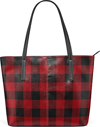 NaiiaN Light Weight Strap Purse Shopping Leather Black Red Stripe Plaid Horse for Women Girls Ladies Student Shoulder Bags Handbags Tote Bag