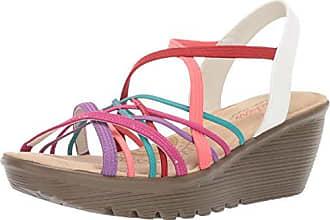 db01ed0304 Skechers Womens Parallel-Crossed Wires-Multi Gore Slingback Sandal Wedge,  5.5 M US