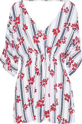 Onia Onia Woman Alessandra Shirred Printed Poplin Cover-up White Size L/XL