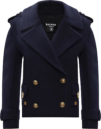 Balmain Wool Jacket Womens Navy Blue