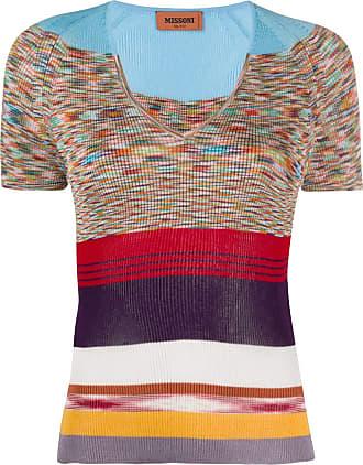 Missoni Blusa gola V color block de tricô - Azul