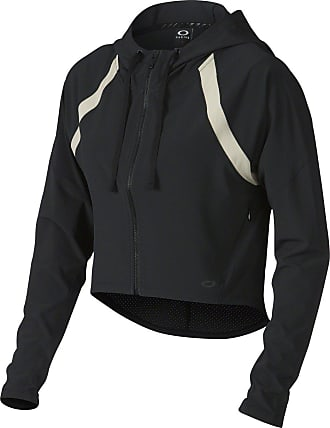 Oakley 511682 Womens High Tide Full Zip Cropped Hoodie, Jet Black, Size XL