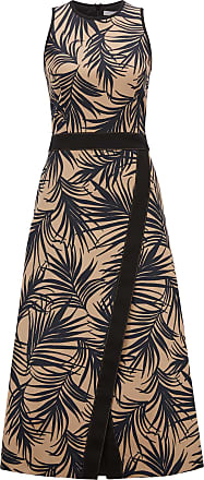 BOSS Sleeveless dress with palm-leaf-print and wrapped skirt