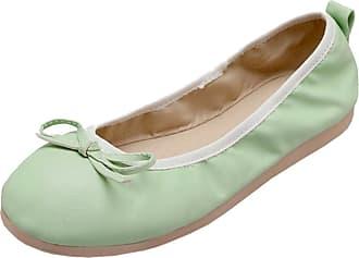 RAZAMAZA Women Lovely Ballet Flat Pumps Shoes Slip On Bow Green Size 40 Asian