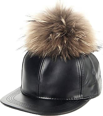TOSKATOK Ladies Girls Faux Leather 5 Panel Baseball Cap with Faux Fur Pompom Black