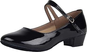 Insun Girls 1.4 Pump Dance Shoes Latin Salsa Tango Practice Ballroom Party Performance Shoe for Big Kid Black Rubber Sole 11.5 UK Child