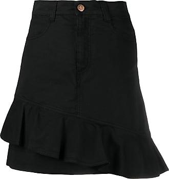 See By Chloé asymmetrical flounce denim mini skirt - Preto