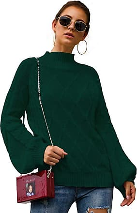 YYW Womens Turtleneck Oversized Sweaters Batwing Long Hollow Sleeve Pullover Loose Chunky Knit Jumper (Green,XL)