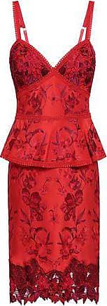 Marchesa Marchesa Notte Woman Embroidered Ponte Peplum Dress Red Size 14
