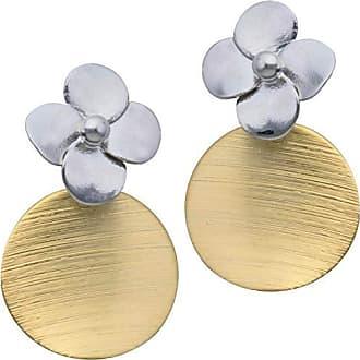 Tinna Jewelry Brinco Flor 4 Pétalas Com Pingente De Pastilha Dourada