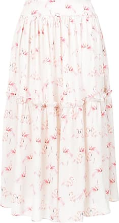 OLYMPIAH flamingo print midi skirt - White
