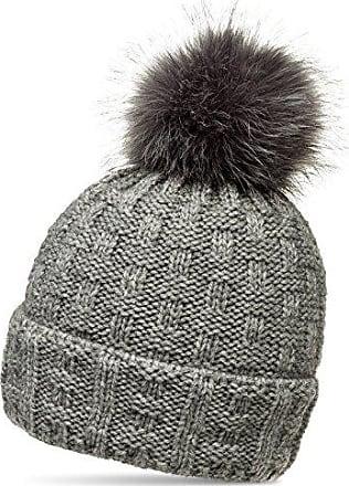 CASPAR MU160 Damen Winter XL Fellbommel Mütze Strickmütze Bommelmütze gefüttert