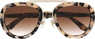 Miu Miu Eyewear Óculos de sol aviador com strass - Marrom