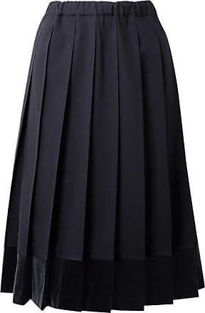 91d1cca816ae Comme Des Garçons Pleated Velvet-trimmed Wool Midi Skirt - Midnight blue