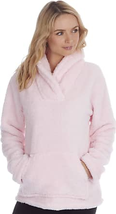 Forever Dreaming Womens Ladies Snuggle Fleece Bed Jacket Shawl Collar Pyjama Top Lounge Nightwear Sugar Pink XL