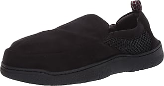 Dearfoams Mens Microsuede and Mesh Jungle Moccasin Slipper, Black, X-Large Wide
