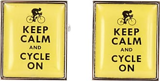 Zennor Mens Keep Calm and Cycle On Cufflinks - Yellow