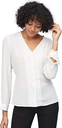 LilySilk Silk Blouse for Women and Ladies V Neck Sexy Ribbed Cuff Button Front Puff Sleeve Exquisites Natural White XS