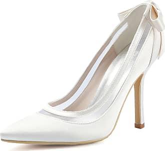 Elegantpark HC1806 Wedding Bridal Shoes Women Pointed Toe Wedding Heels for Bride Stiletto High Heels Bow Satin Court Shoes Ivory UK 5(EU 38)