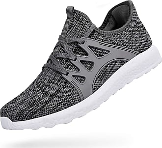 Zocavia Men Women Trainers Lightweight Running Sports Shoes Outdoor Non Slip Walking Gym Fitness Athletic Shoes Grey White