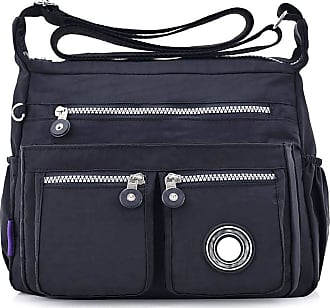 GFM Womens Nylon Waterproof Cross Body Shoulder Bag (S1-171-KL-Black)