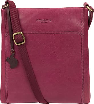 Pure Luxuries London Conkca London Dink Womens 26cm Biodegradable Leather Cross Body Bag with Zip Over Top, 100% Cotton Lining and Adjustable Slimline Leather Strap in Orc