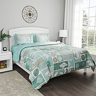 Trademark Bedford Home 2-Piece Quilt and Bedding Set - Harbor Town-Veranda Hypoallergenic Polyester Microfiber with Sham (Twin XL)