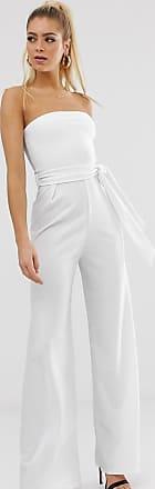 Missguided Trägerloser Jumpsuit mit weitem Bein in Weiß