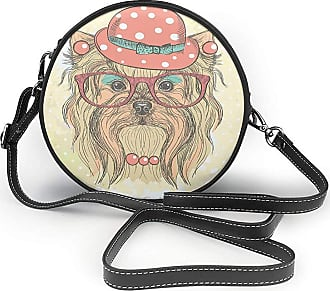 Turfed PU Round Shoulder Bag Classic Yorkie Be Cute Portrait of an Adorable Dog with Earrings Necklace Glasses Hat Makeup Light Coral Handbag