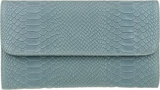 Girly HandBags Girly HandBags Snake Print Suede Clutch Bag Italian Leather (Light Blue)(Size: W 26, H 15, D 3 cm (W 10.5, H 6, D 1.5 inches))