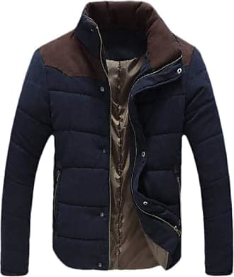 H&E Mens Winter Warm Stand Collar Quilted Down Jacket Outwear Parka Coat Navy Blue L