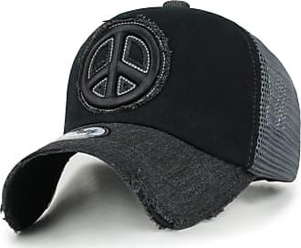 Ililily Peace Symbol Embroidery Distressed Trucker Hat Cotton Baseball Cap, Black, Medium