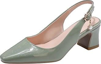 Mediffen Garggi Party Shoes Women Slingback Pointed Toe Dress Block Heels Pumps Evening Shoes Fashion Ladies Mid Heels Pumps Wedding Shoes Green Size 33 Asian