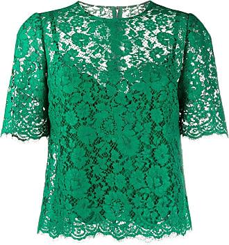Dolce & Gabbana Blusa com renda floral - Verde