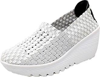 Insun Womens Woven Slip On Wedge Shoes White UK 7.5