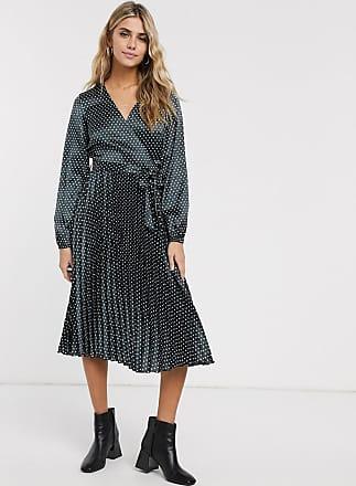 Miss Selfridge pleated midi dress in black