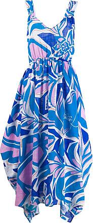 Emilio Pucci Vestido longo Samoa com estampa - Azul